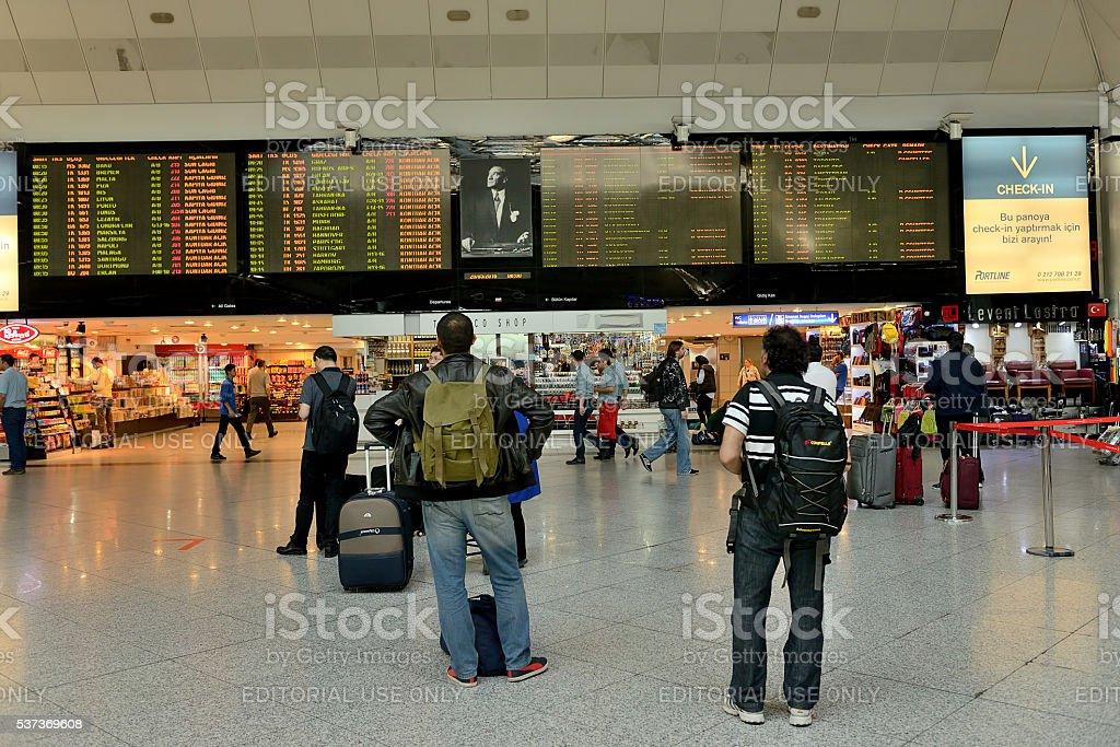 Ataturk Airport Departure Board stock photo