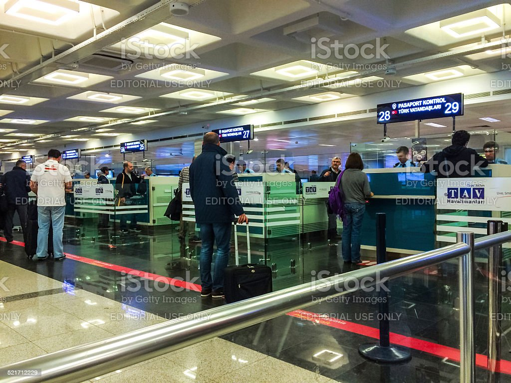 Ataturk Airport Passport Control, Istanbul, Turkey stock photo