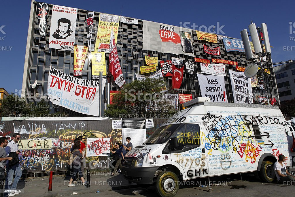Ataturk Cultural Center during Gezi protests in Istanbul stock photo