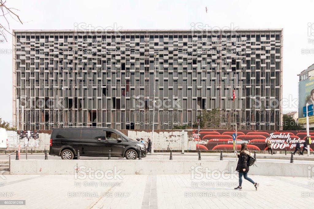 Ataturk Culture Center (AKM) in Taksim square in Istanbul stock photo
