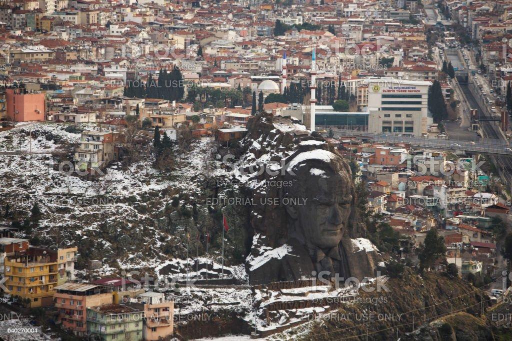 Ataturk mask in buca izmir city view. stock photo