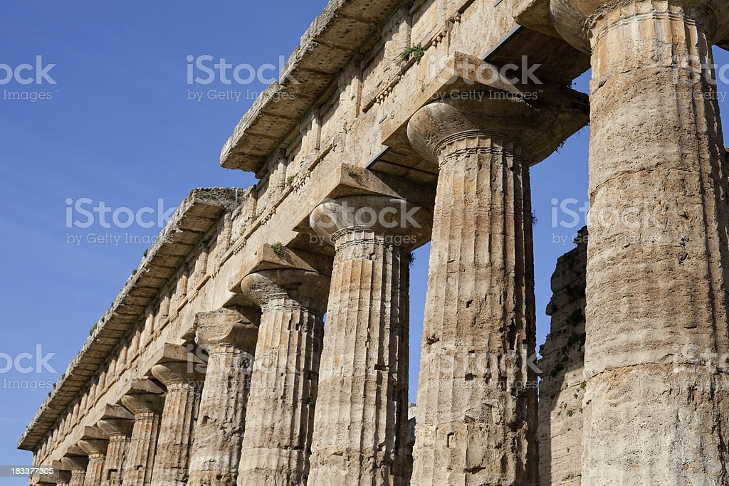 Atena temple colonnade (Paestum, Italy) stock photo
