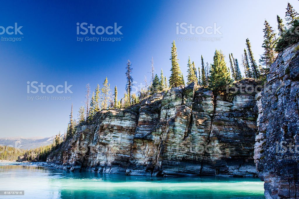 Athabasca Falls, Icefield Parkway, Jasper National Park stock photo