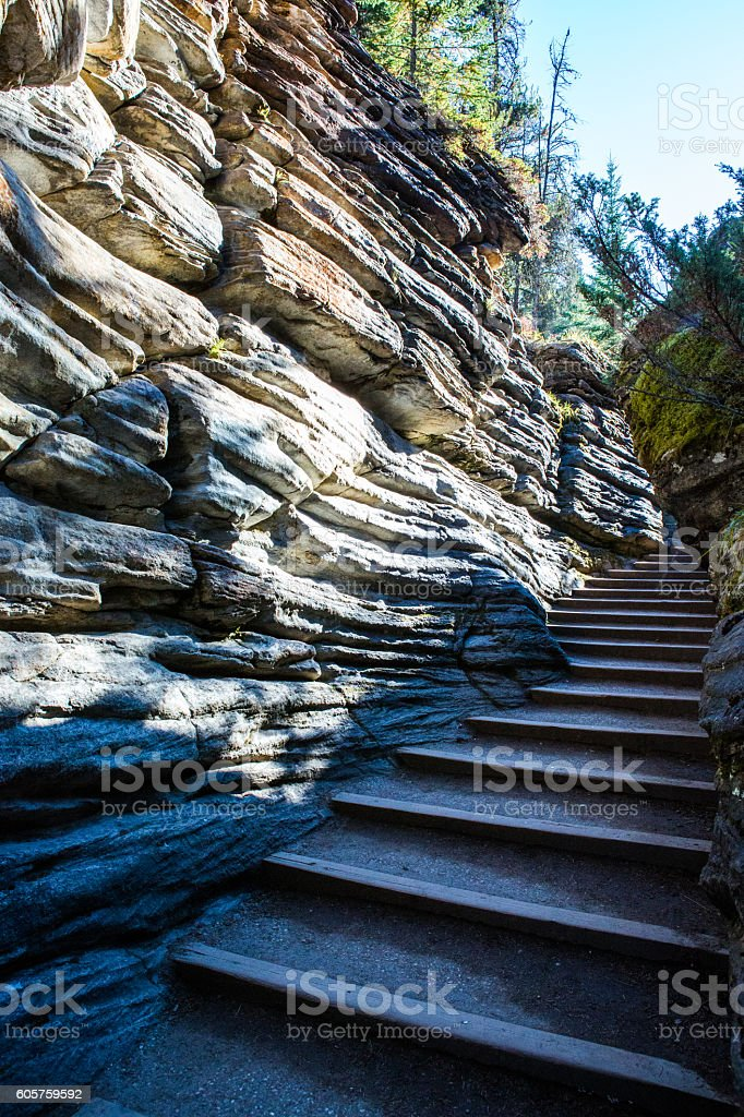 Athabasca Falls Stairs, Icefield Parkway, Jasper National Park stock photo