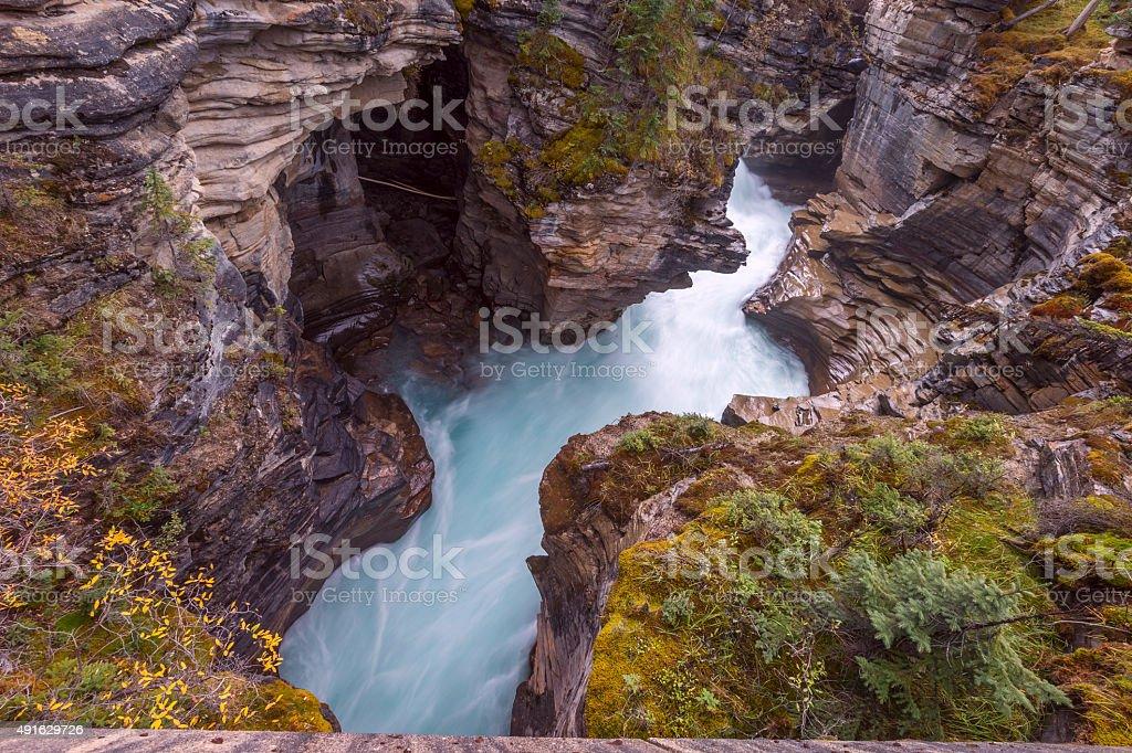 Athabasca Falls Waterfall extension Jasper, Canada stock photo