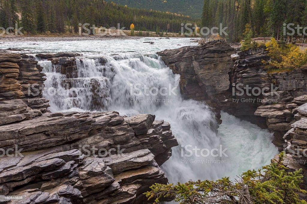 Athabasca Falls Waterfall Jasper, Canada stock photo