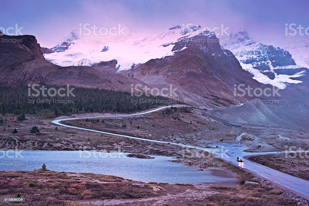 Athabasca Glacier, Canadian Rockies, at nightfall stock photo
