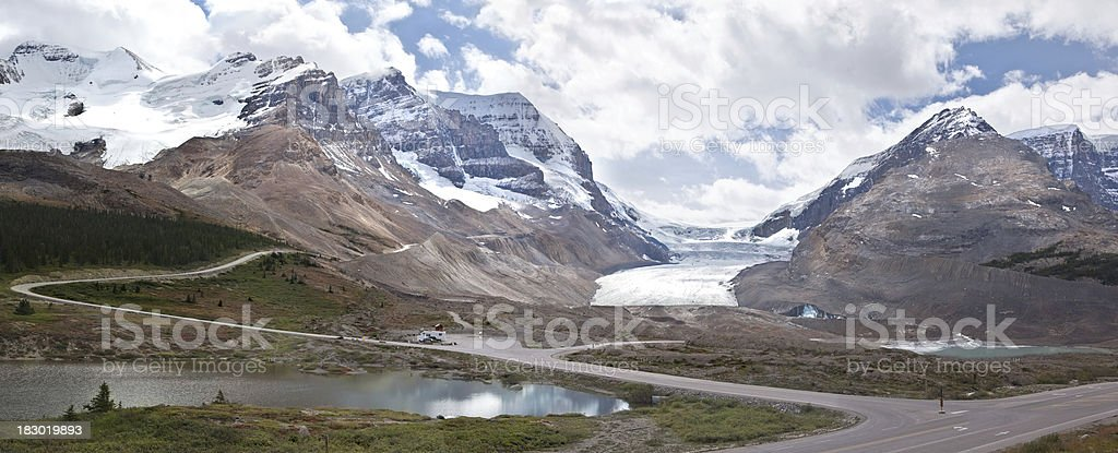 Athabasca Glacier, Canadian Rockies Panorama royalty-free stock photo