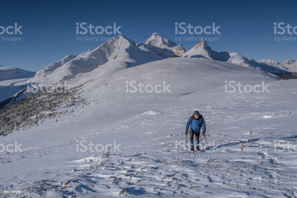 Athabasca Glacier snowshoeing at Jasper National Park, Canadian Rockies stock photo