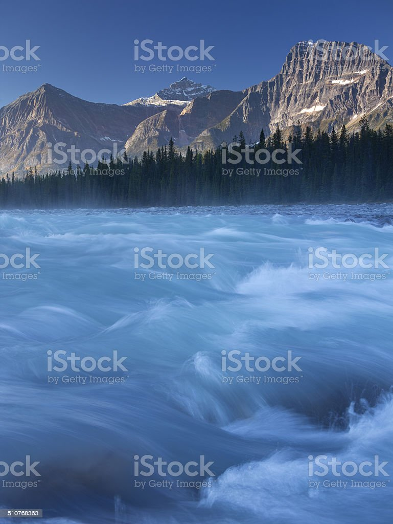 Athabasca River and Mountain at dawn in the Canadian Rockies stock photo