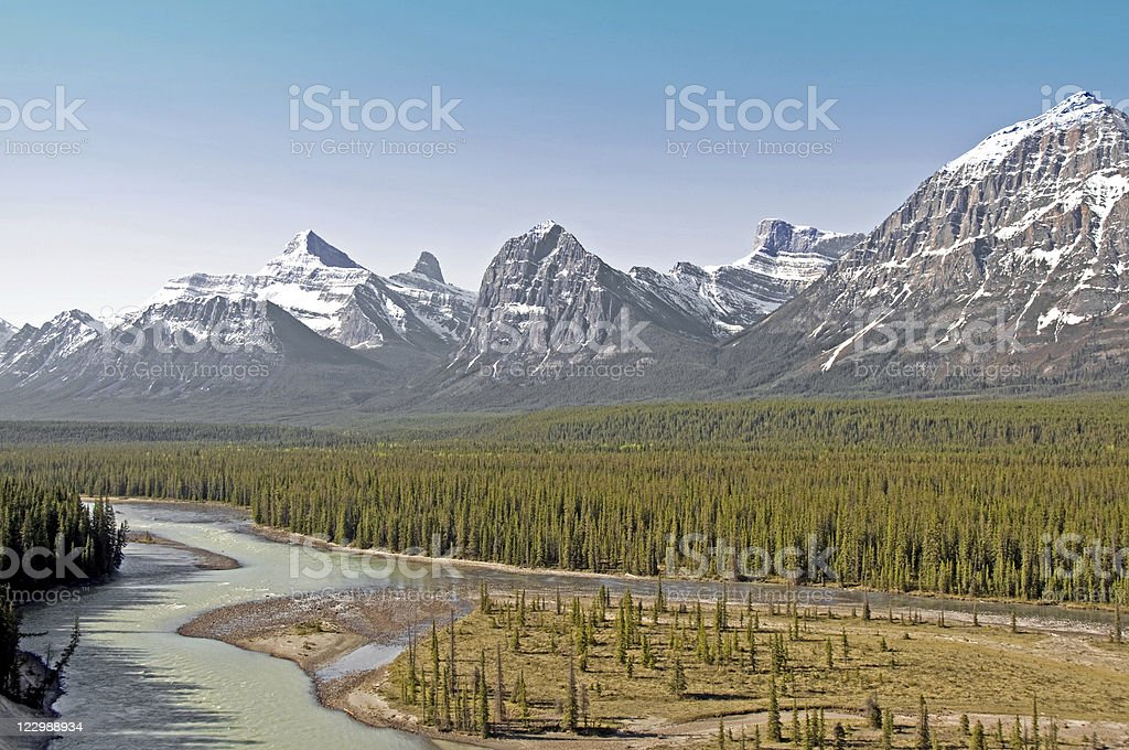 Athabasca River and Mountain Range stock photo