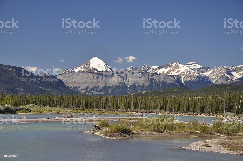 Athabasca River and Pyramid Mountain, Jasper National Park, Canada stock photo
