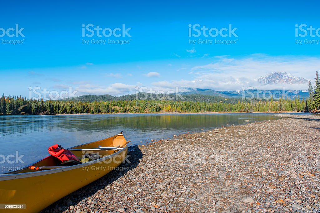 Athabasca River and Snow Mountains stock photo