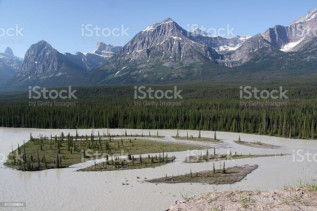 Athabasca River - Canadian Rockies stock photo