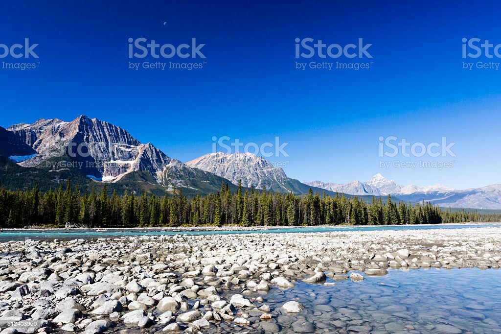 Athabasca River, Icefield Parkway, Jasper National Park stock photo