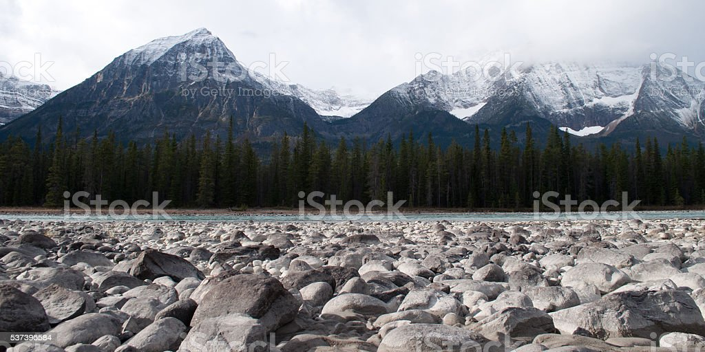 Athabasca River in Jasper National Park, Alberta, Canada stock photo