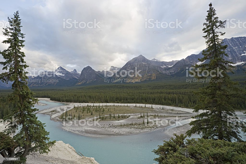 Athabasca river, Jasper National Park, Canada stock photo