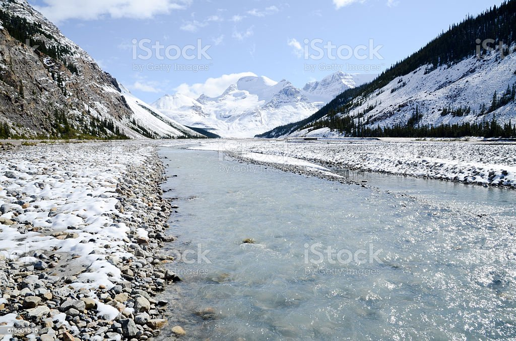 Athabasca River, Jasper National Park, Canadian Rockies stock photo