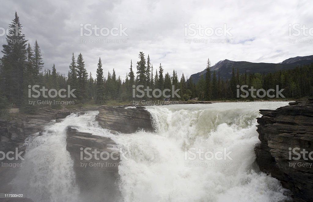 Athabasca River spilling over Falls royalty-free stock photo