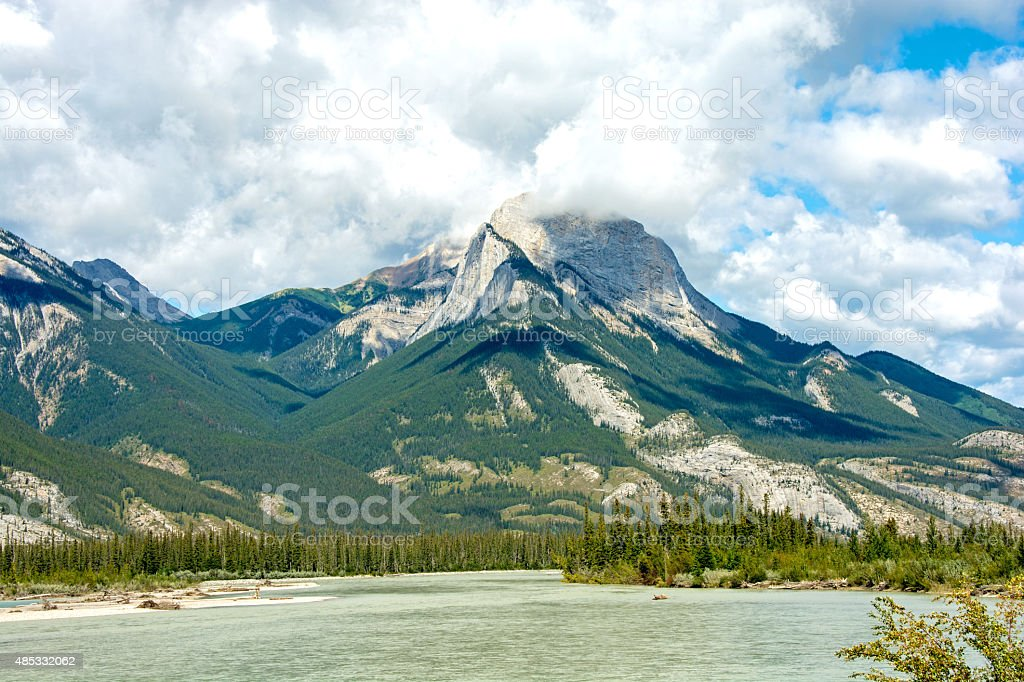 Athabasca River valley in the Canadian  Rocky Mountains stock photo