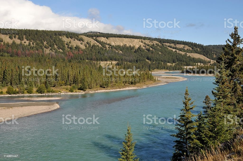 Athabasca River,Jasper,Jasper National Park,Alberta,Canada stock photo