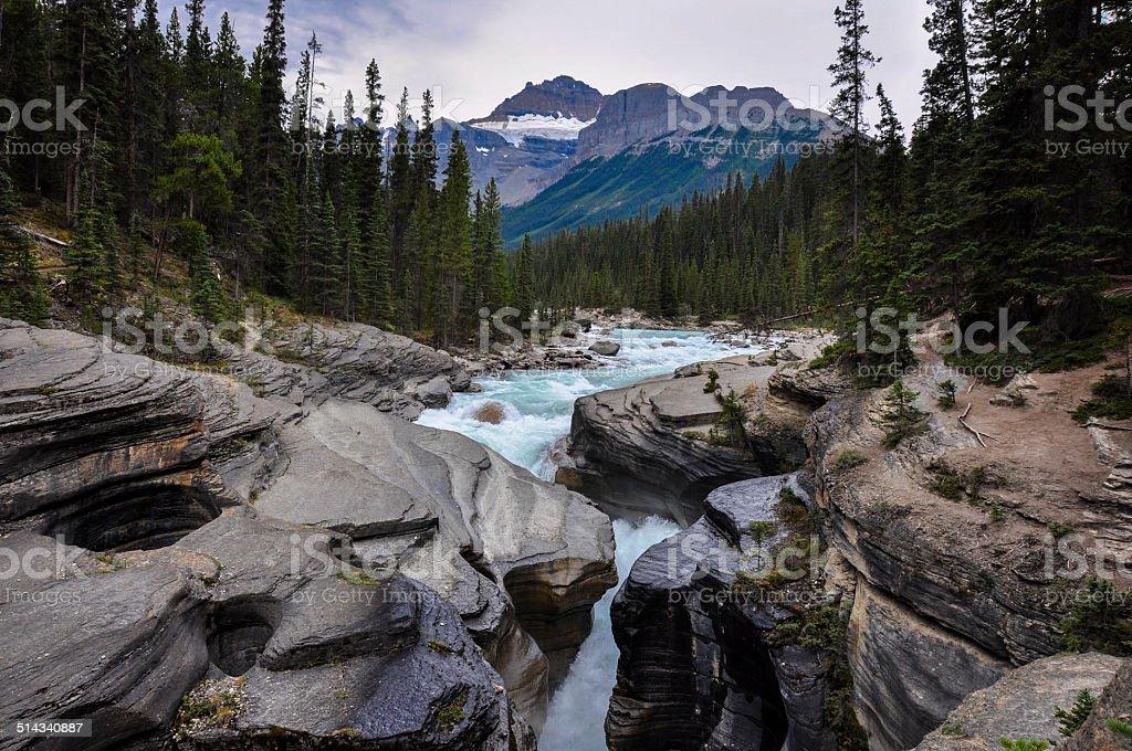 Athabaska falls, Alberta, Canada stock photo
