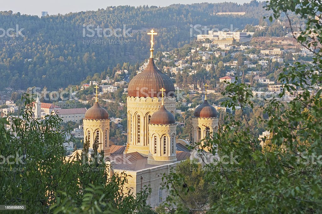 Сathedral against houses and forest on slope background at sunset royalty-free stock photo