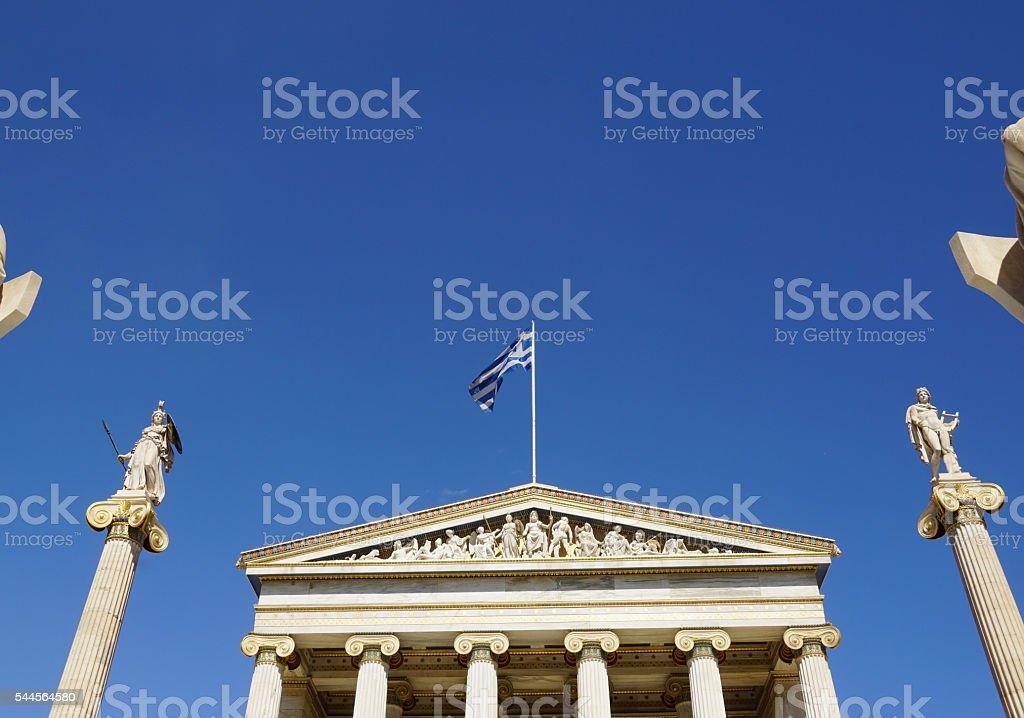 Athena and Apollo statue at Academy of Athens,Greece. stock photo