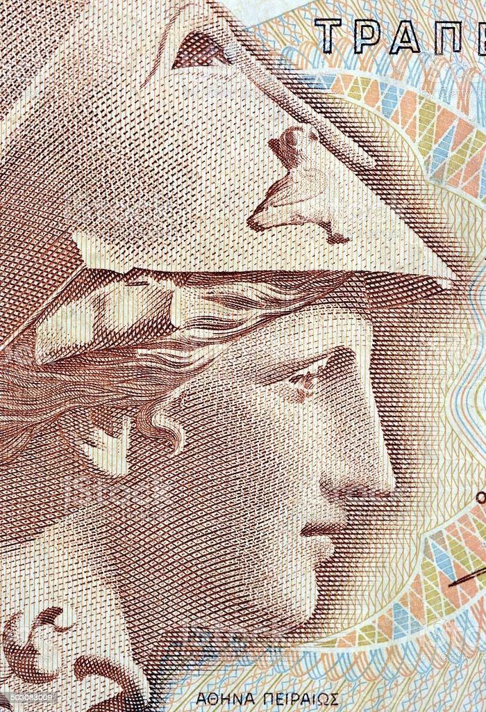 Athena on Banknote stock photo