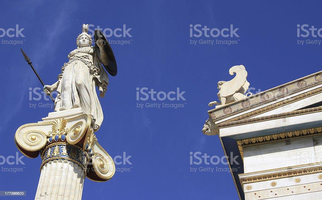 Athena outside Academy of Athens, Greece stock photo