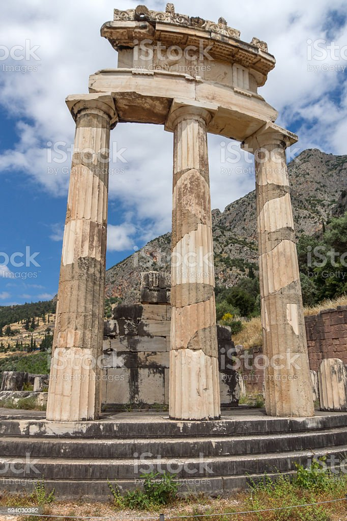 Athena Pronaia Sanctuary at Delphi, Greece stock photo