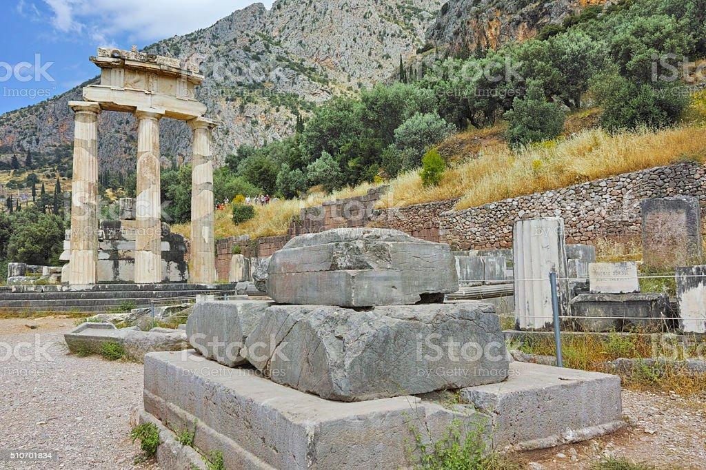 Athena Pronaia Sanctuary in Ancient Greek archaeological site of Delphi stock photo