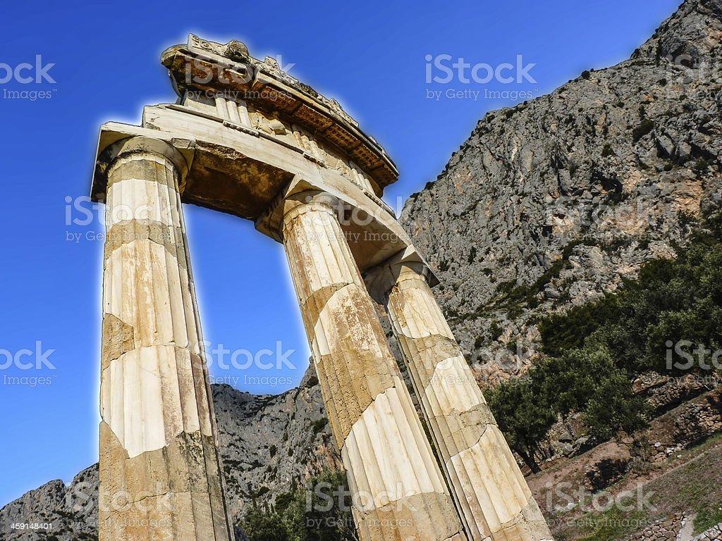 Athena Pronoia Temple at Delphi in Greece stock photo