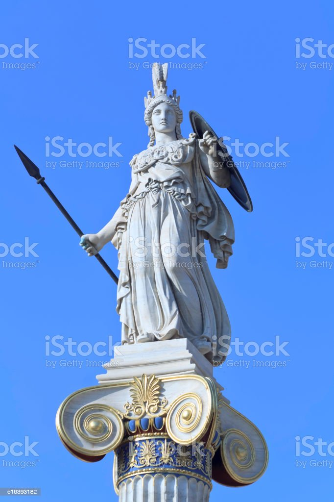Athena statue in the Academy of Athens stock photo