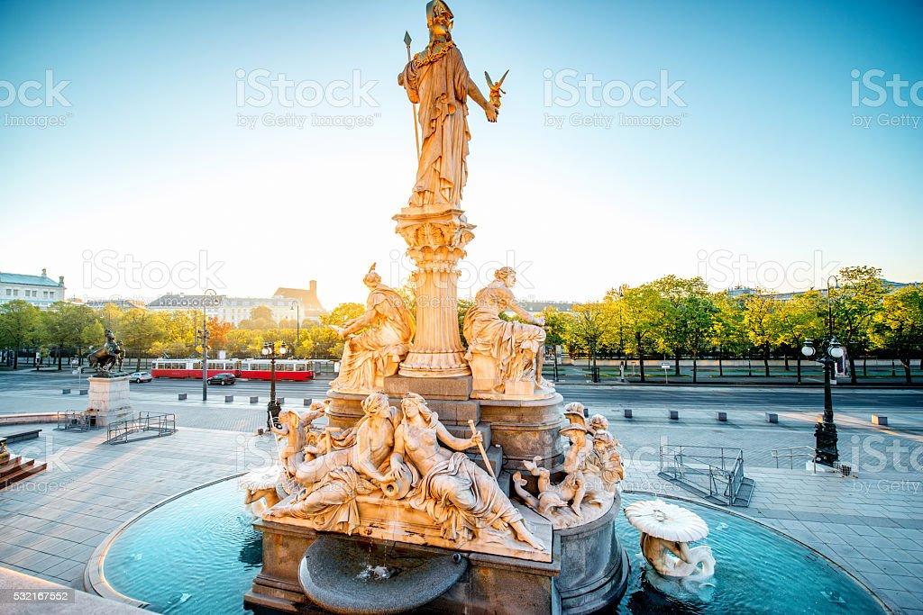 Athena statue near Parlament building in Vienna stock photo