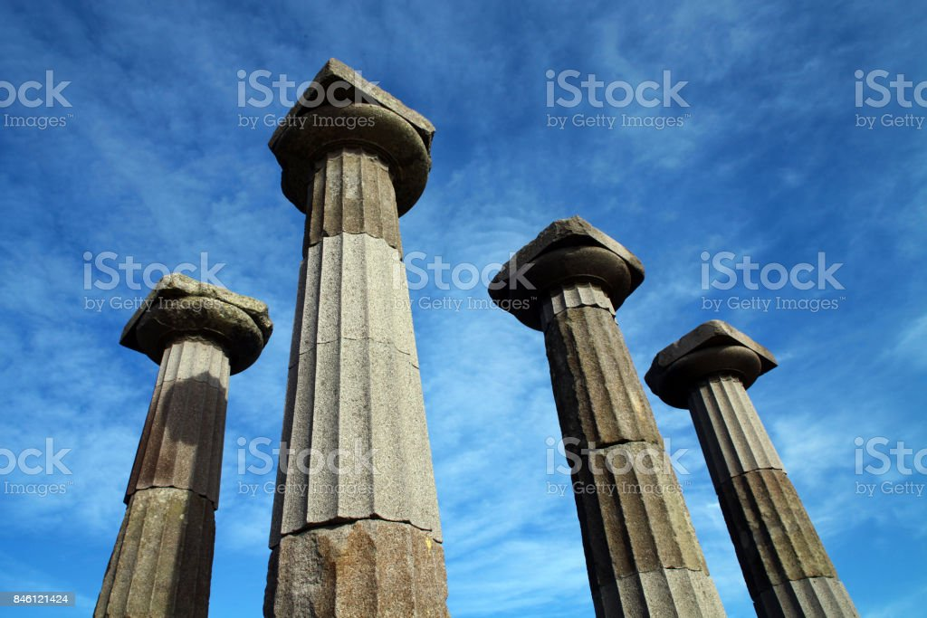 Athena Temple columns in Behram (Assos) stock photo