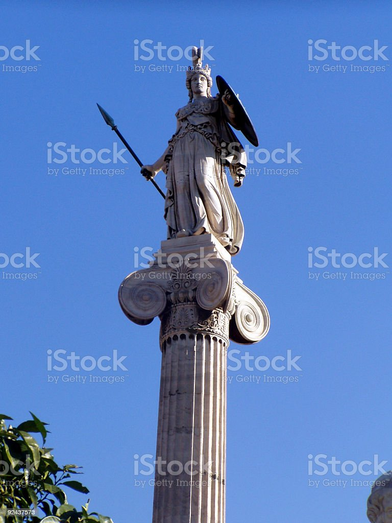 Athena's statue in Athens, Greece royalty-free stock photo