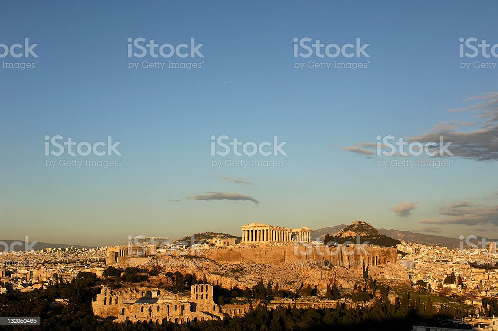Athenian sunset stock photo