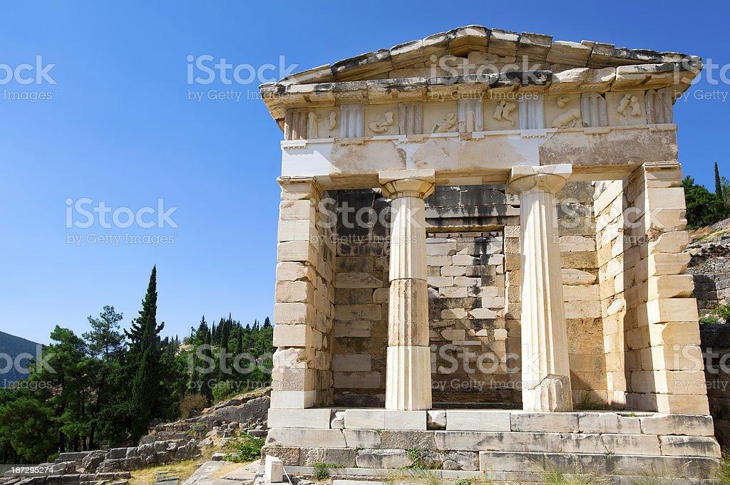 Athenian treasury, Delphi, Greece stock photo
