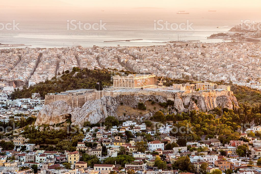 Athens Acropolis at Sunset Greece stock photo