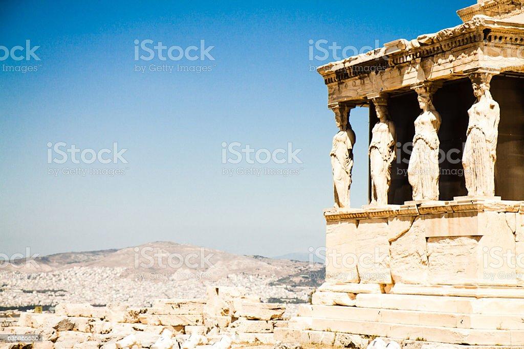 Athens acropolis Caryatid stock photo