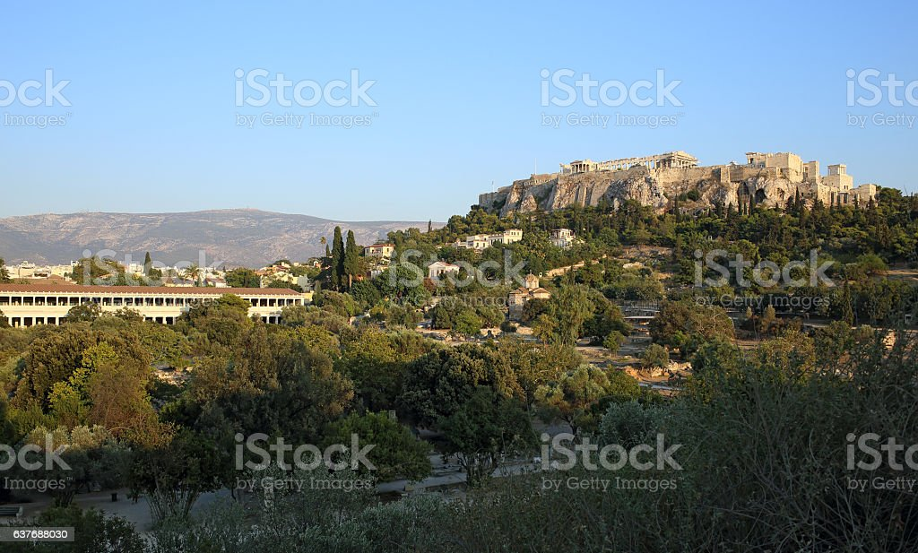 Athens Acropolis view from the ancient Agora stock photo