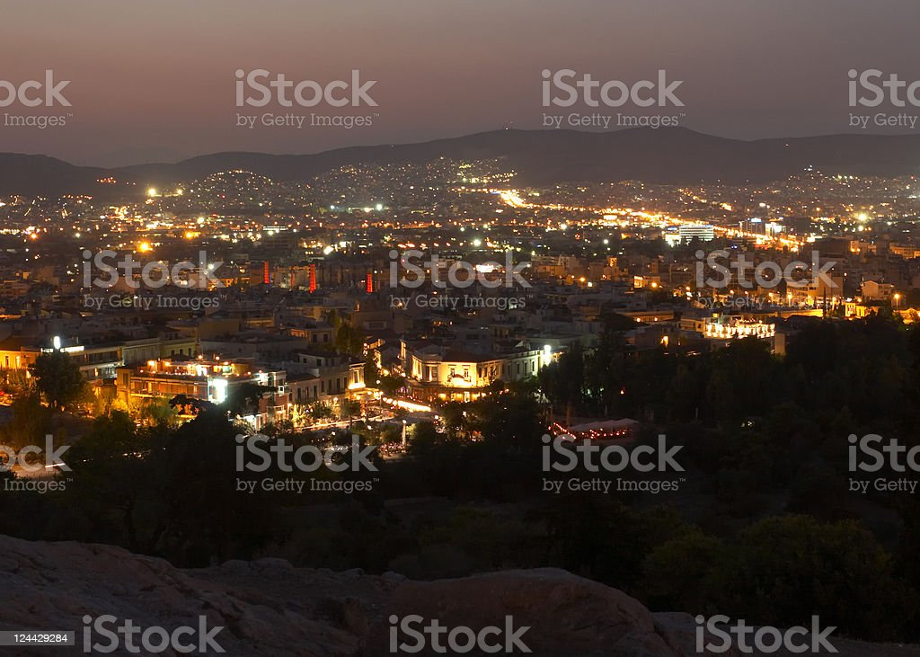 Athens at night stock photo
