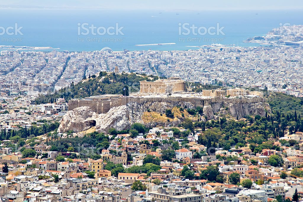 Athens cityscape and Acropolis hill stock photo
