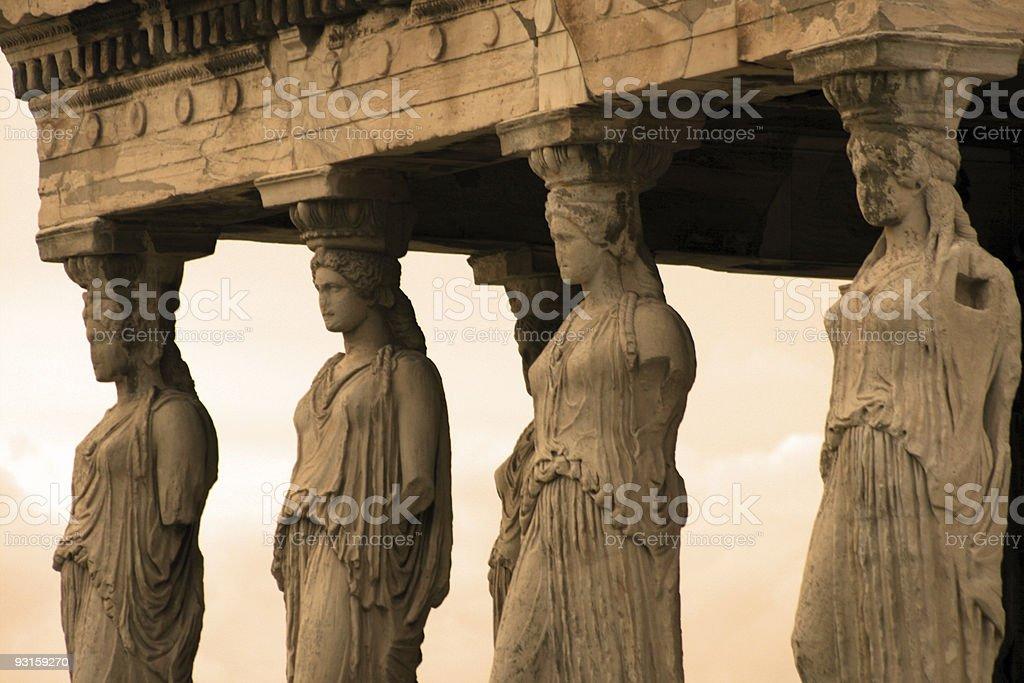Athens, Greece - Caryatids of the erechteum stock photo