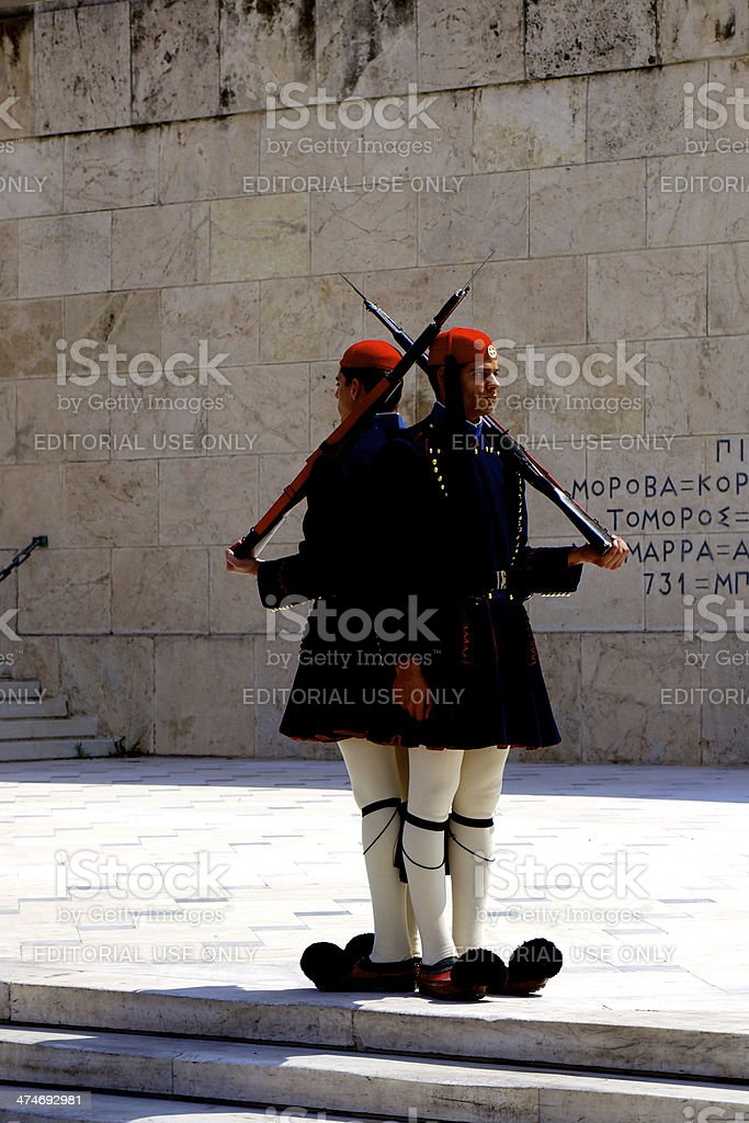 Athens, Greece - Ceremonial Guard at Tomb of Unknown Soldier royalty-free stock photo