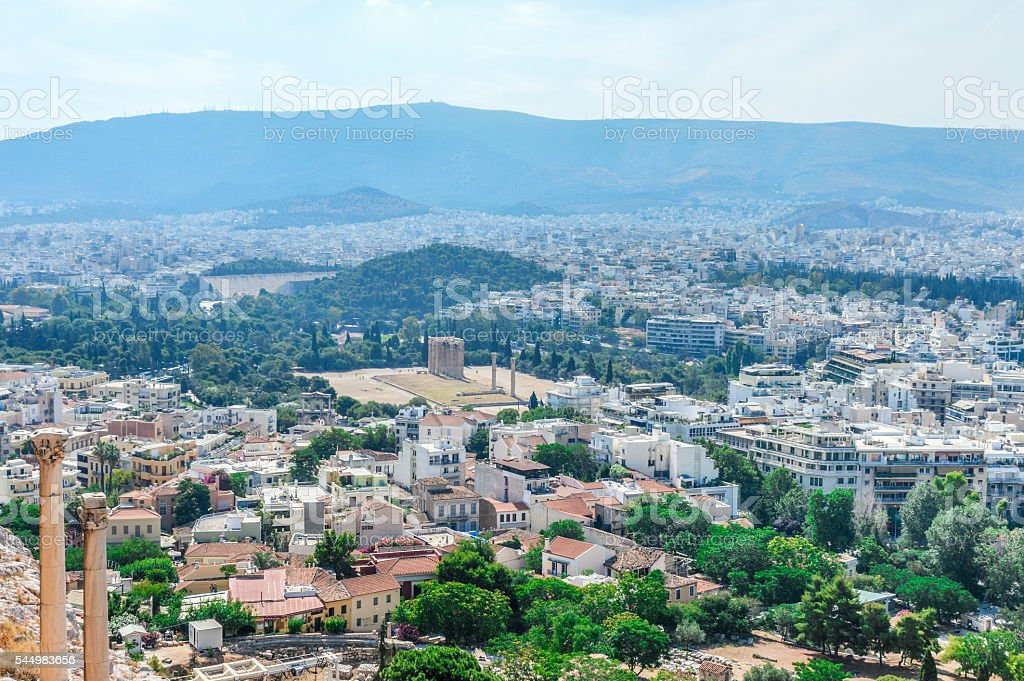 Athens, Greece cityscape with the Temple of Olympian Zeus stock photo