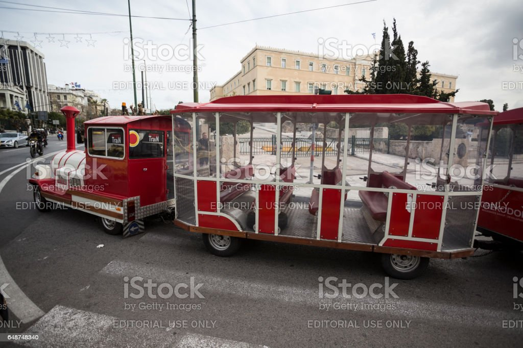 Athens, Greece - February 6, 2017 Athens - Greece,  Tourists train at Syntagma Square stock photo