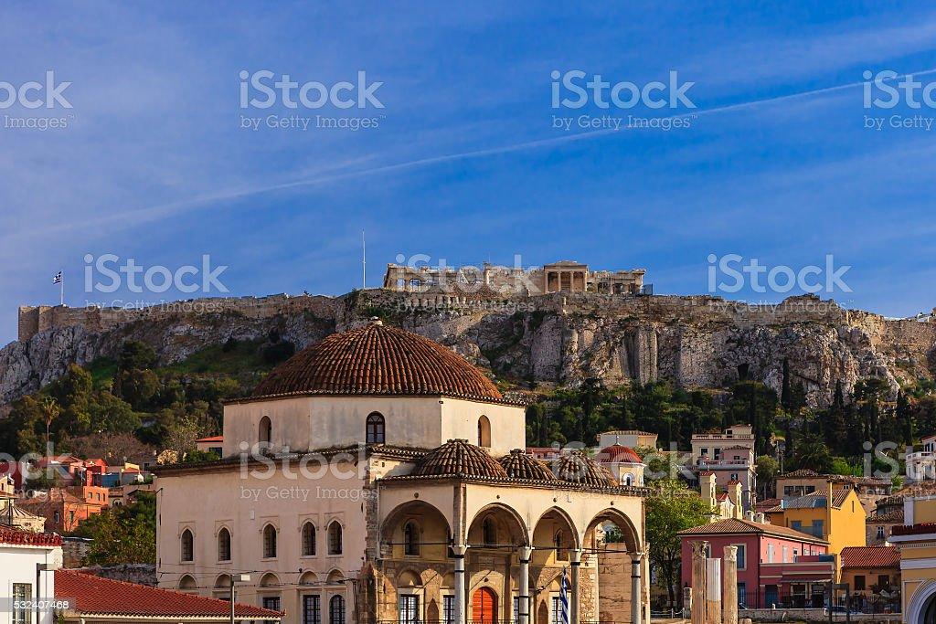 Athens, Greece:  From Monastiraki looking over Tzistarakis towards the Acropolis stock photo