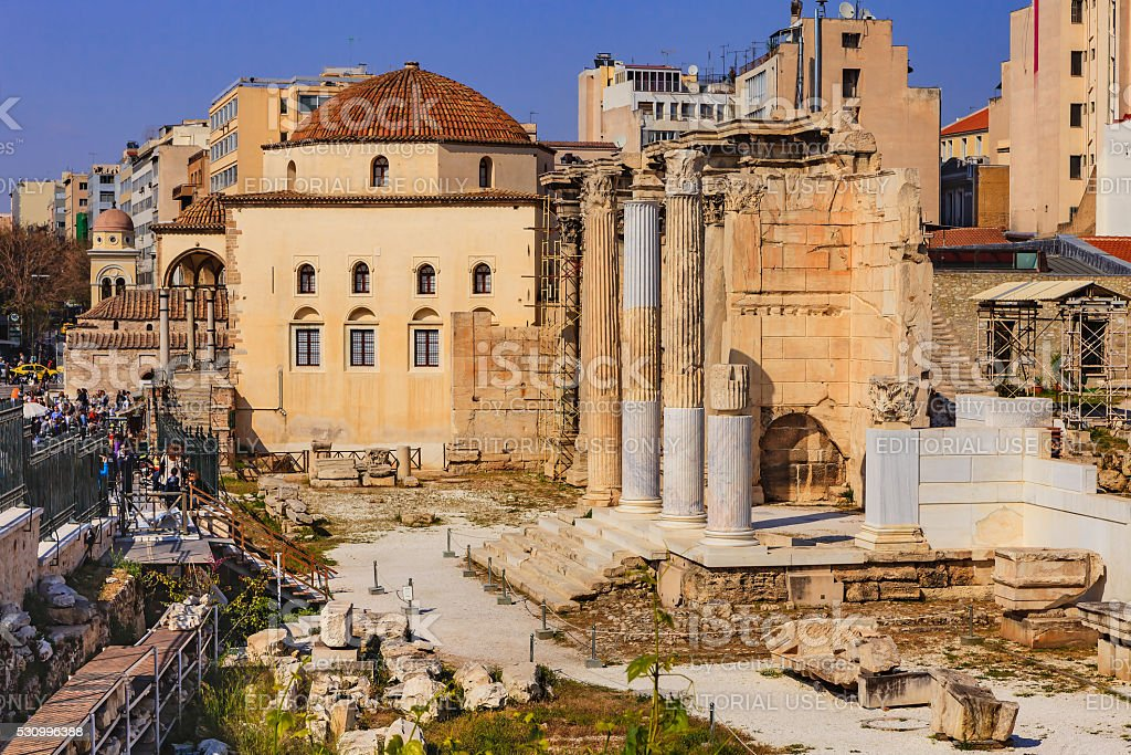 Athens, Greece: Hadrian's Library near Monastiraki Square in afternoon sunlight stock photo